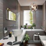 Стильная ванная в сером цвете - фото