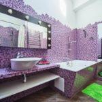 Стильная ванная в сиреневом цвете