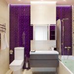 Фиолетовый цвет в интерьере санузла