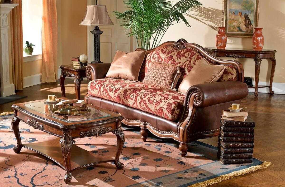Резная мебель в интерьере гостиной