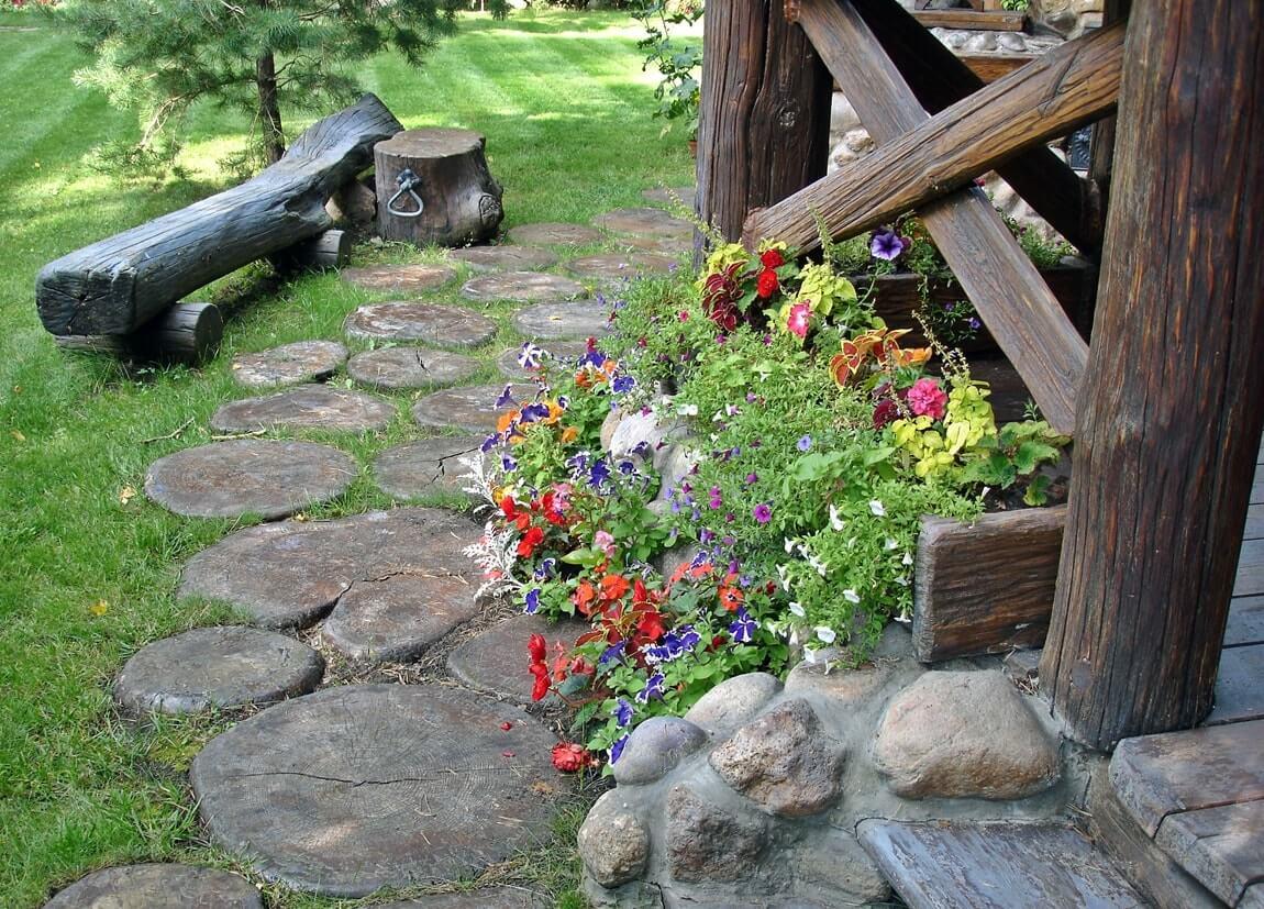 Скамейка в деревенском стиле