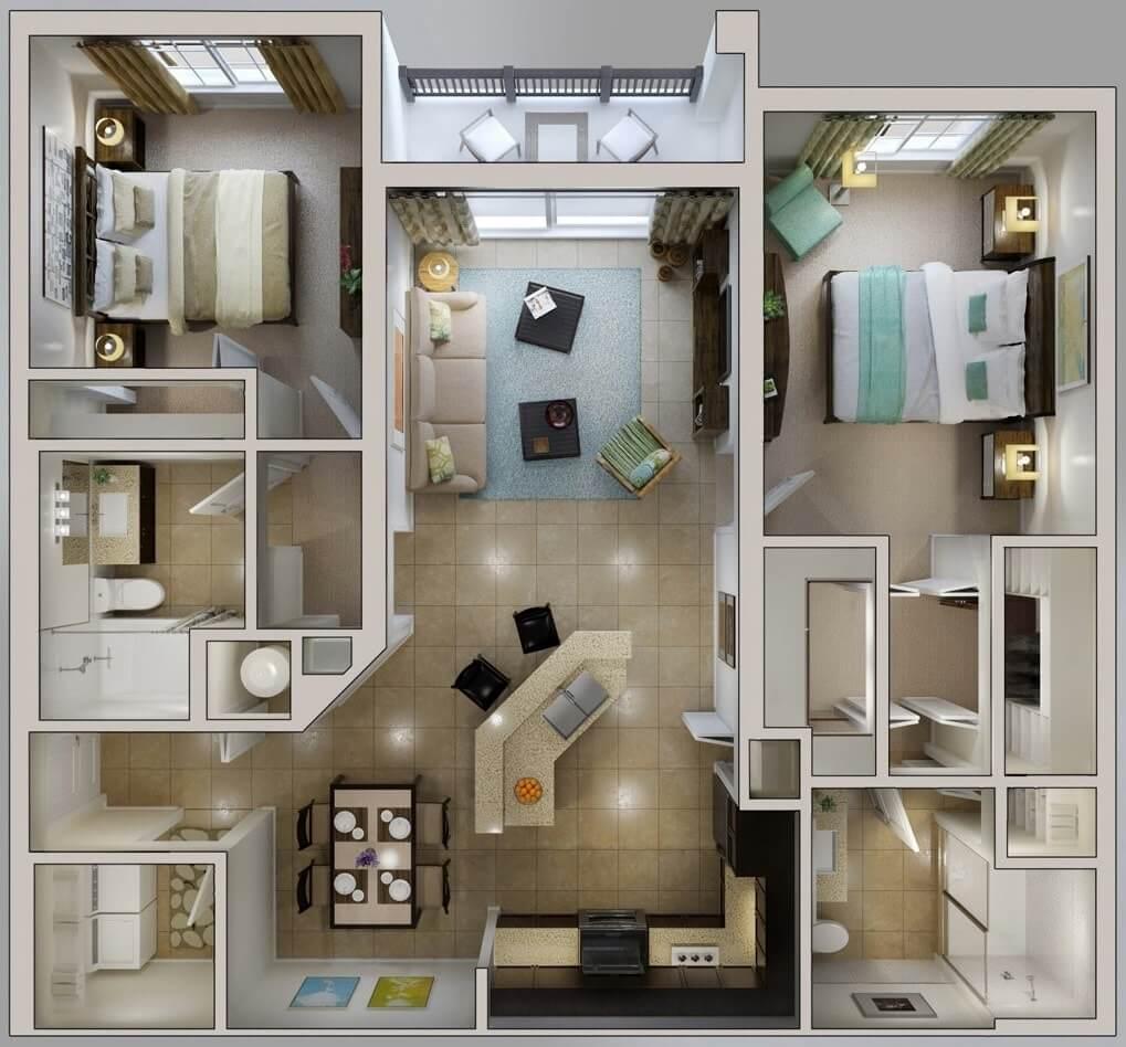 Вариант трехкомнатной квартиры