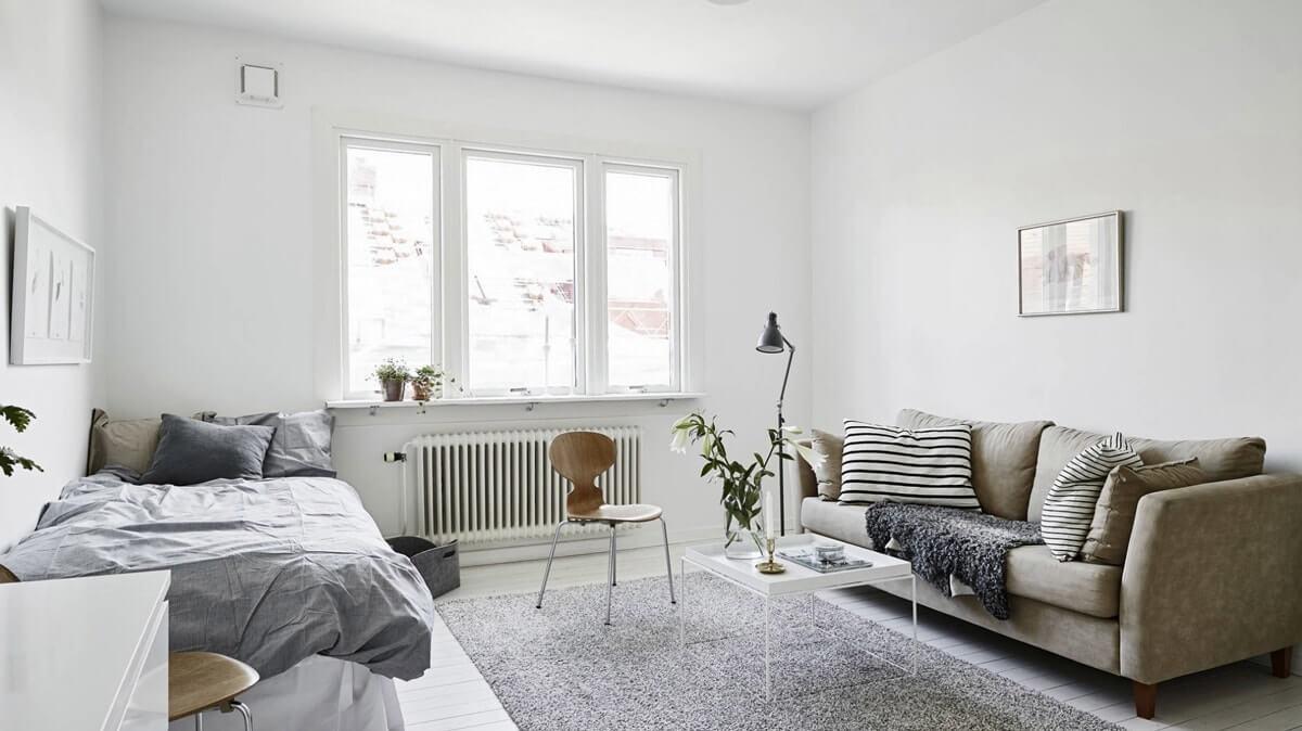 Гостиная со спальней в скандинавском стиле