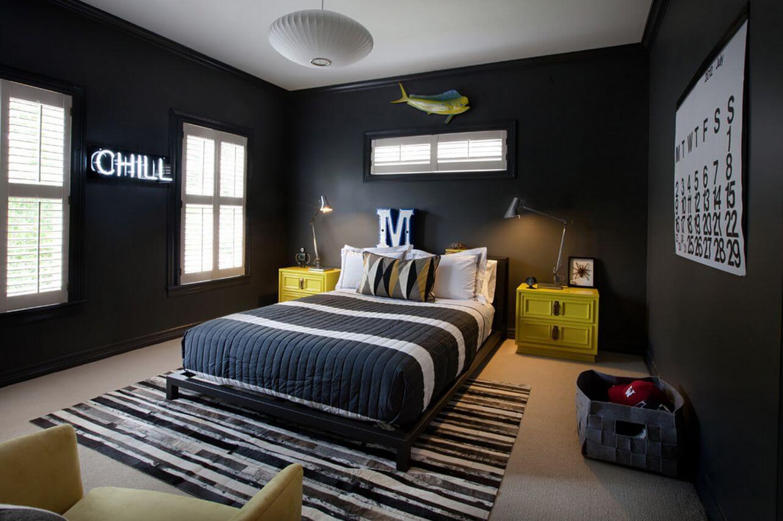 Интерьер комнаты мальчика подростка в черном цвете