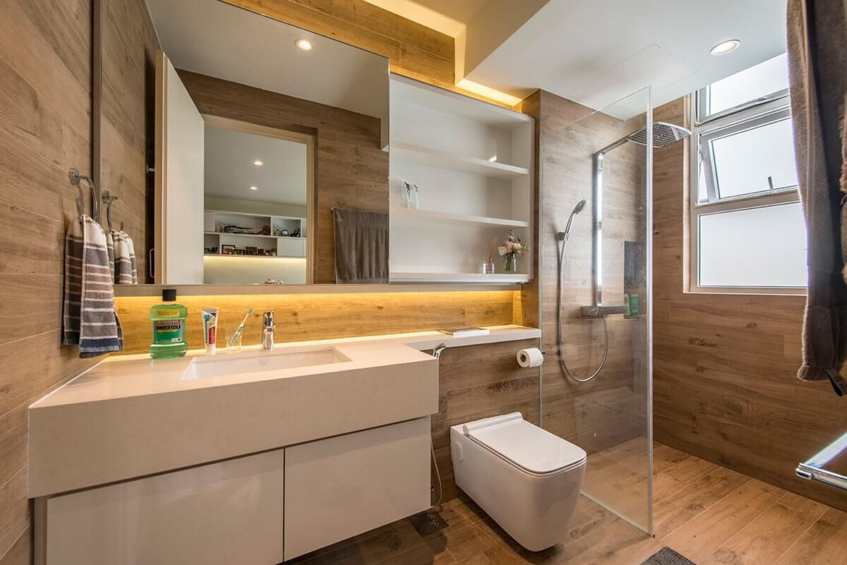 Керамический паркет в ванной
