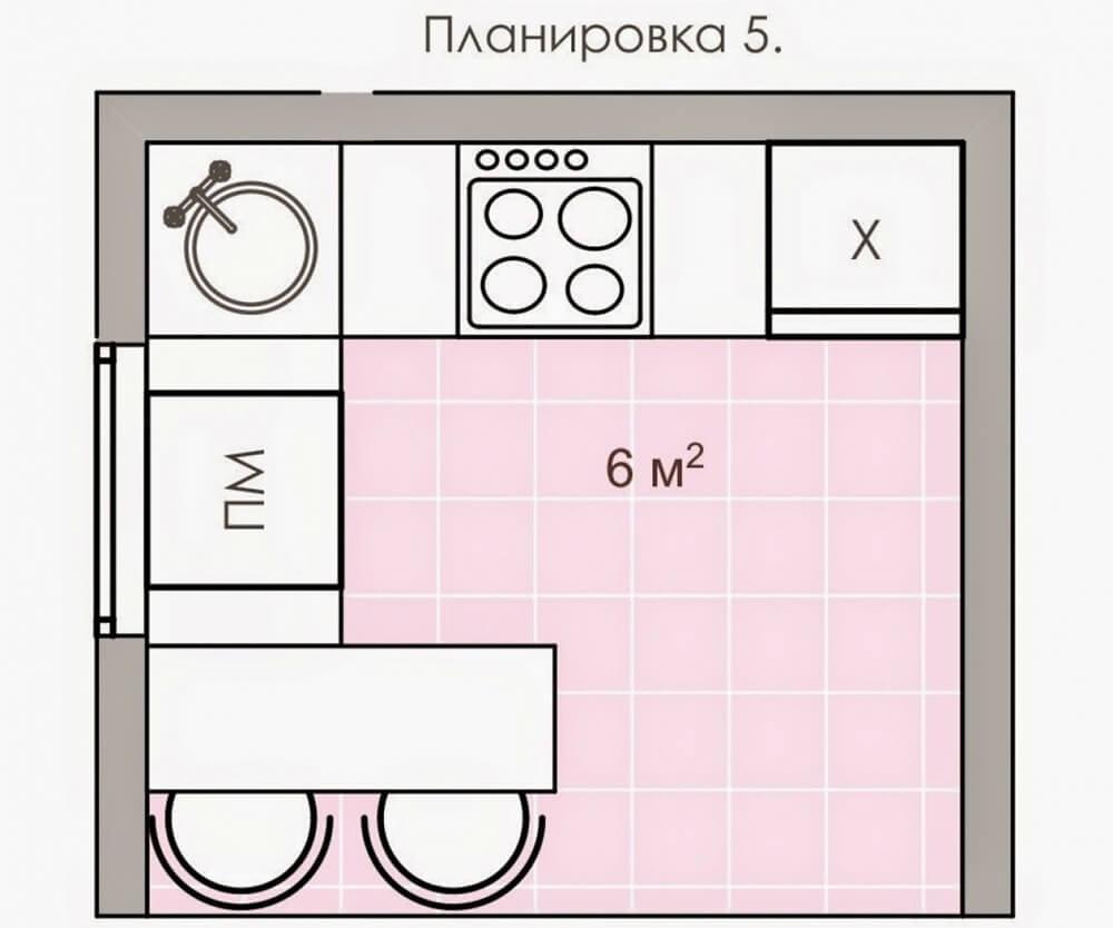 Кухня 6 квадратов со столешницей