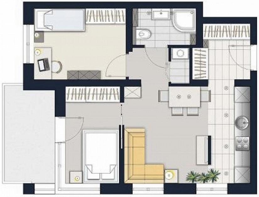 Планировка квартиры в 47 кв.метров