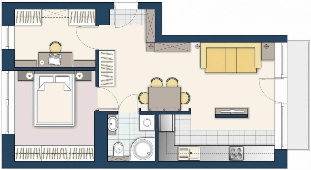 Планировка квартиры в 48 кв.метров