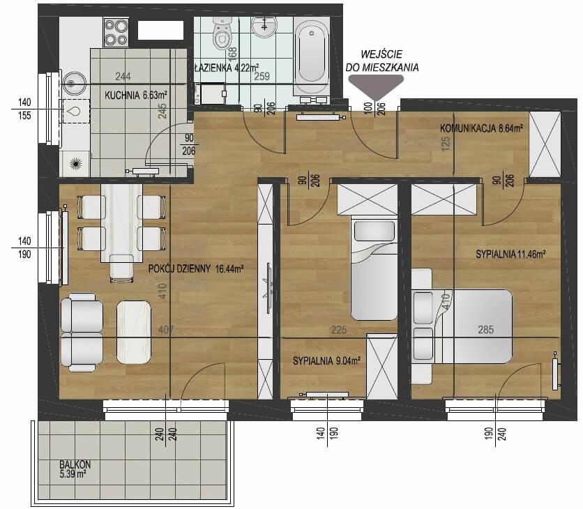 Планировка квартиры в 56 кв.метров