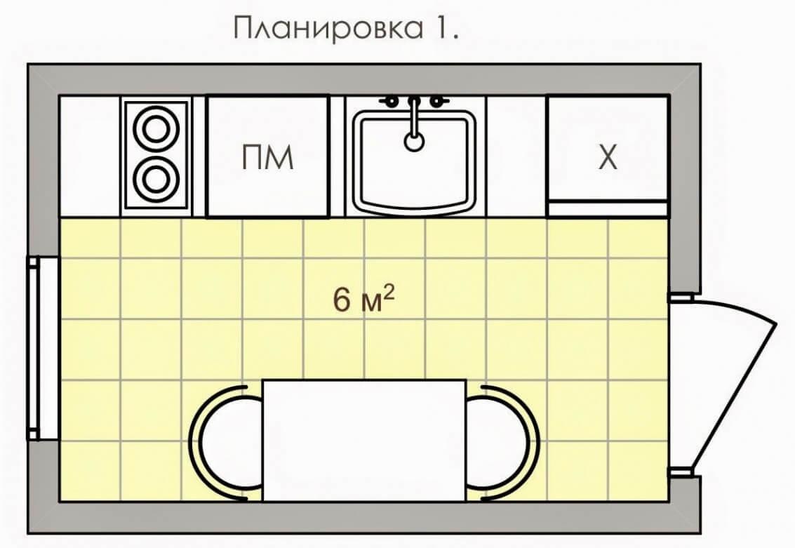 Планировка кухни 6 кв.м.