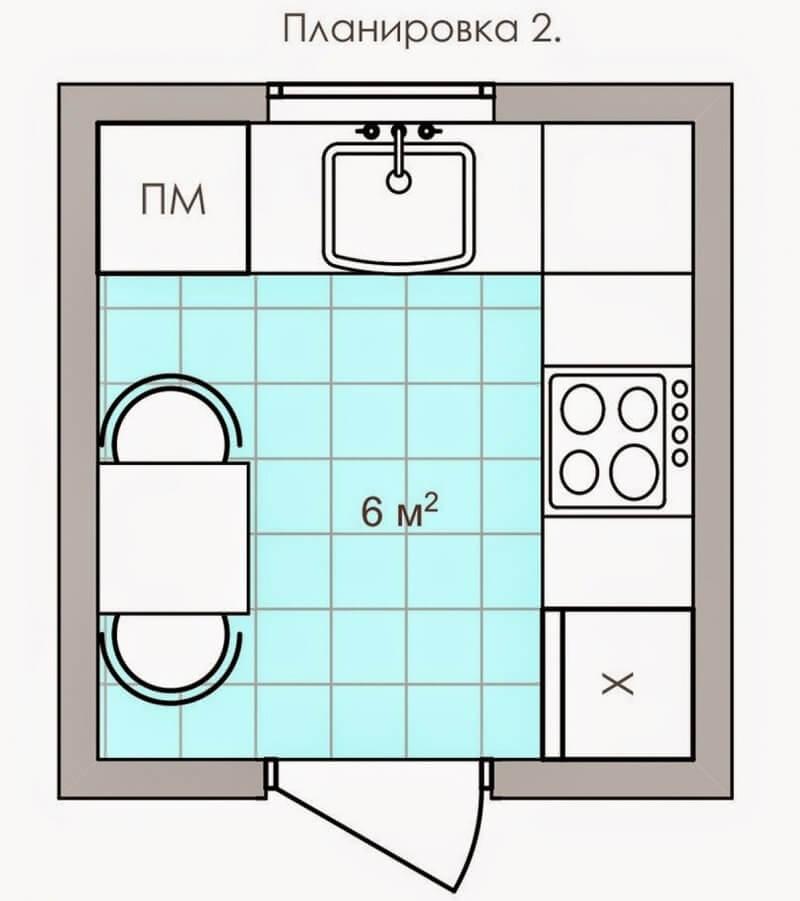 Планировка маленькой кухни 6 кв.м.