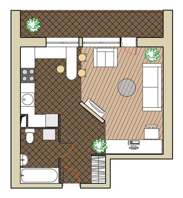 Планировка однокомнатной квартиры - фото 2