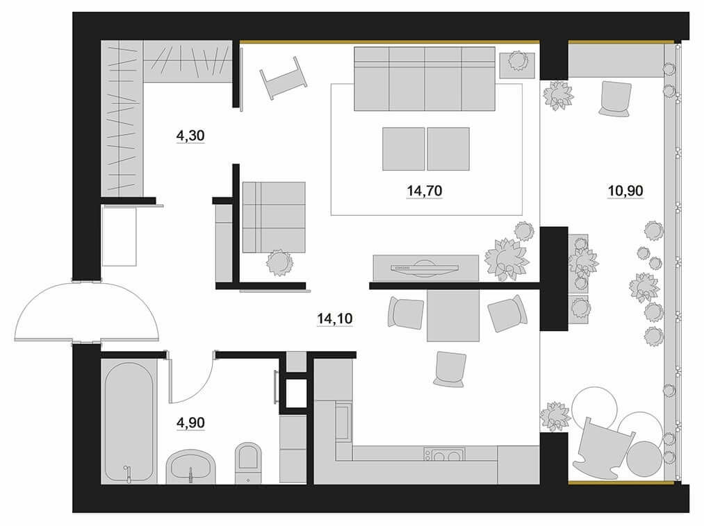 Планировка однокомнатной квартиры - фото 3