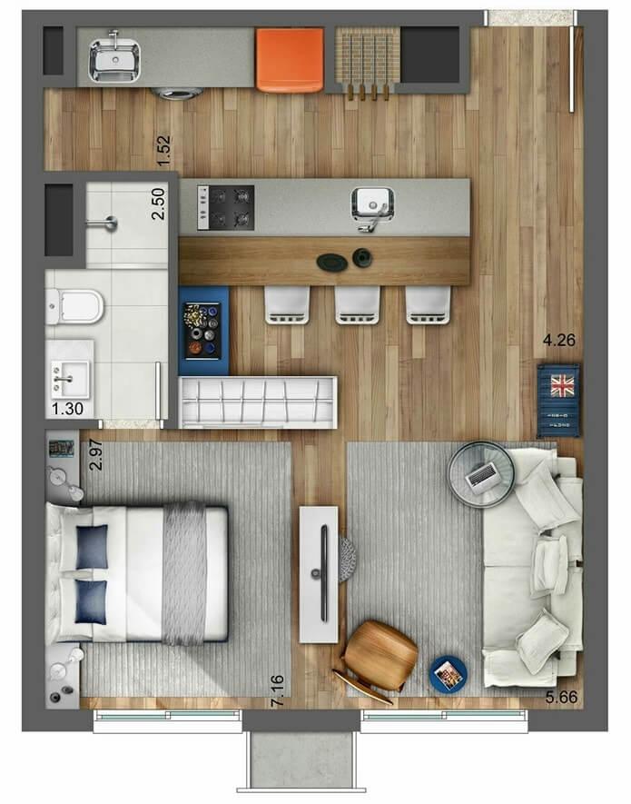 Планировка однокомнатной квартиры - фото 4