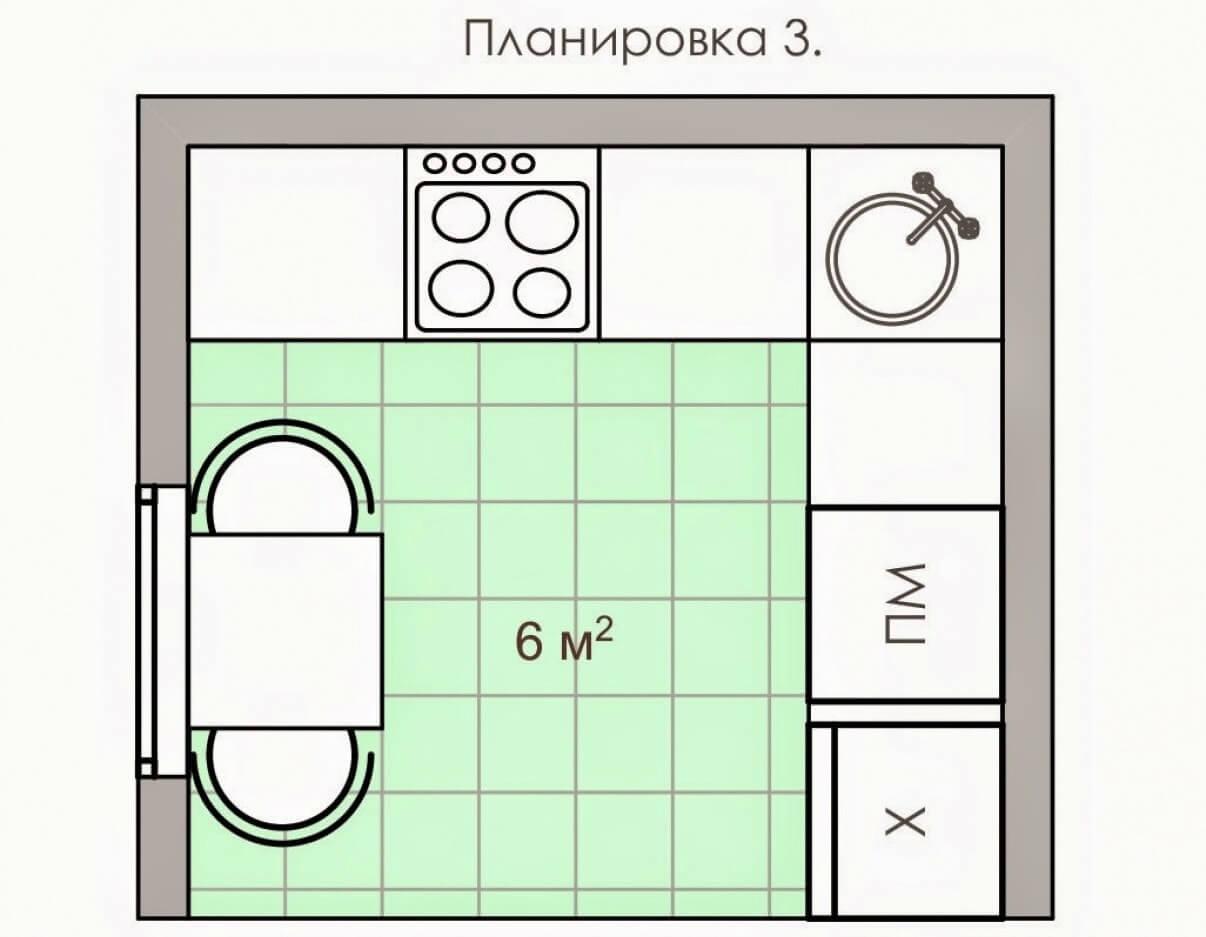 Планировка стандартной кухни 6 кв.м.