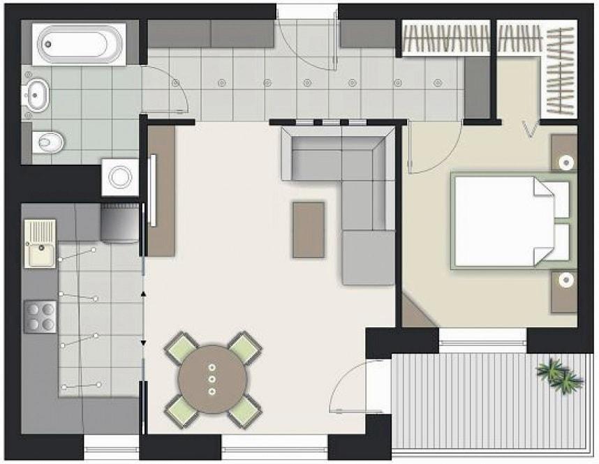 Планировка типовой двухкомнатной квартиры