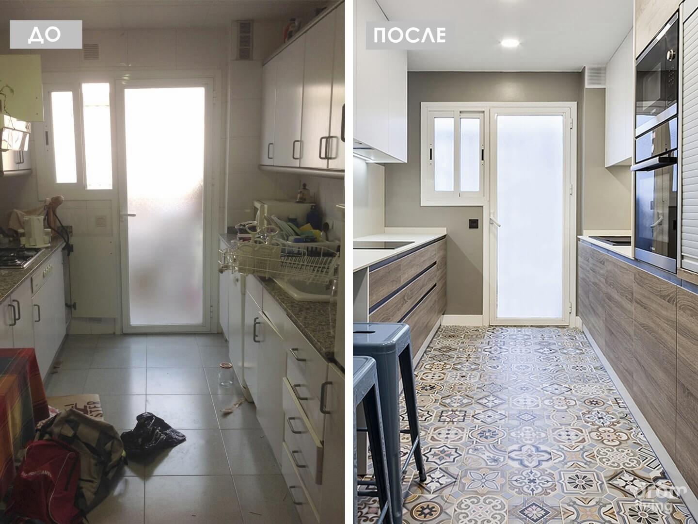 Ремонт узкой и длинной кухни - фото