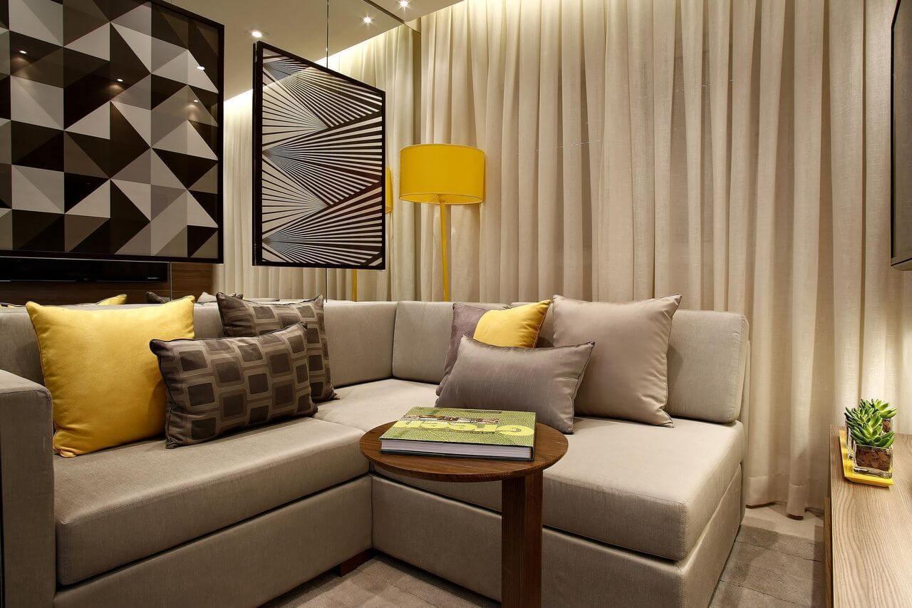 Сдержанная цветовая гамма в дизайне гостиной