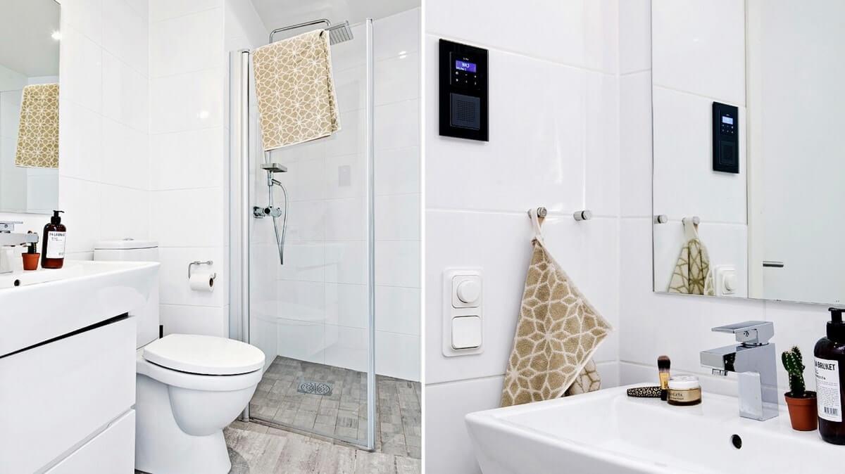 Серо-белая гамма в дизайне ванной