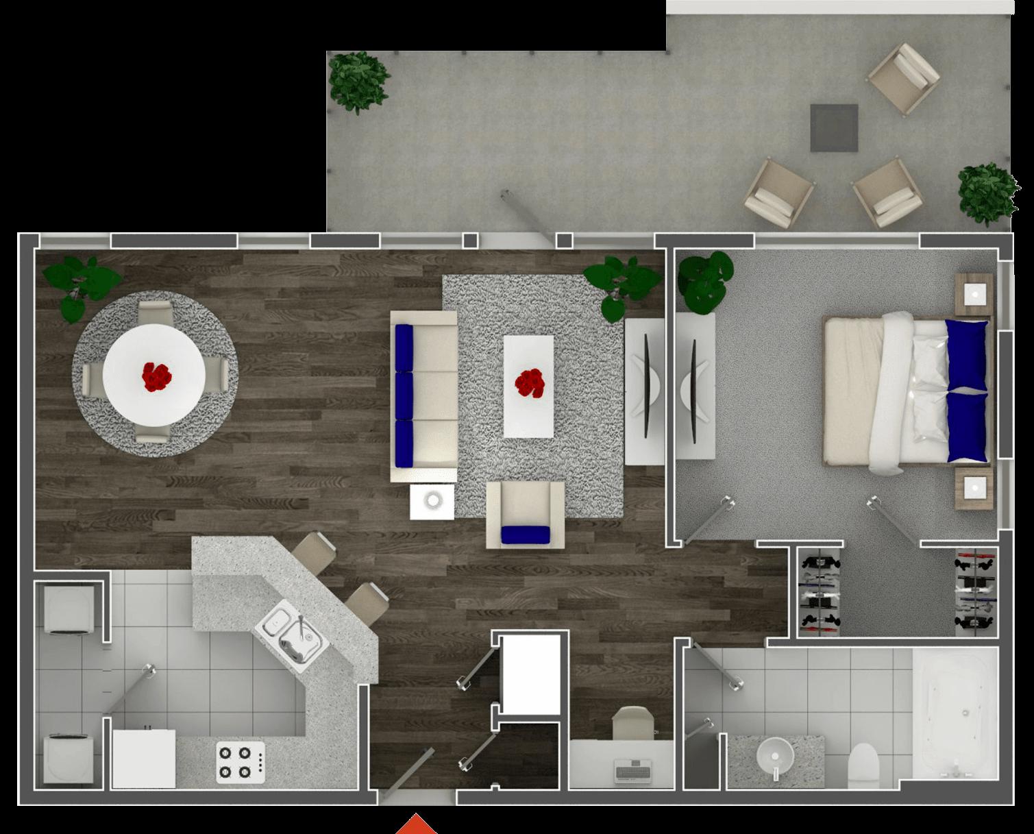 Схема планировки двухкомнатной квартиры 3