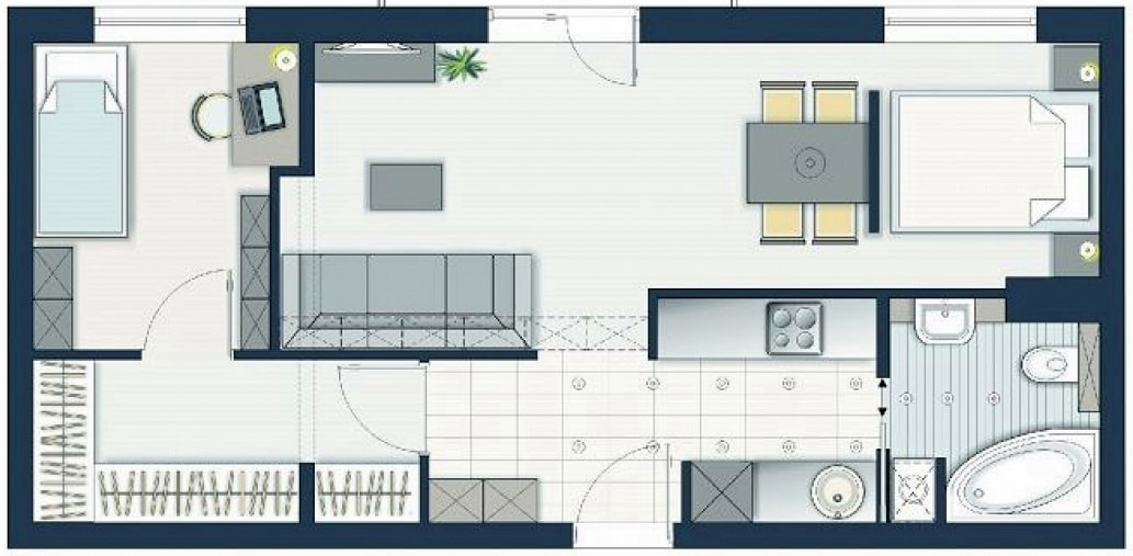 Схема планировки двухкомнатной квартиры 4