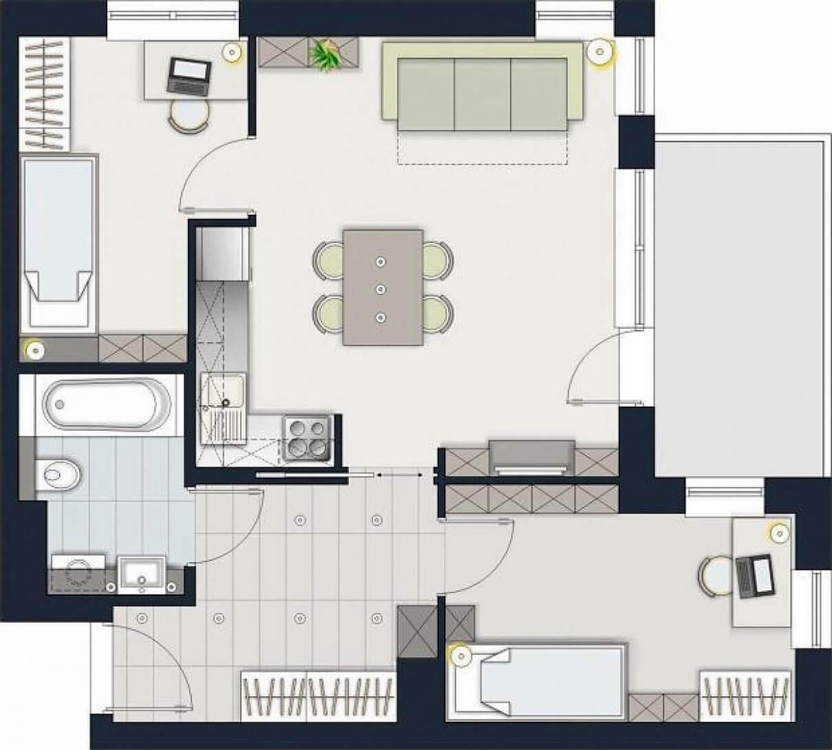 Схема планировки двухкомнатной квартиры 5