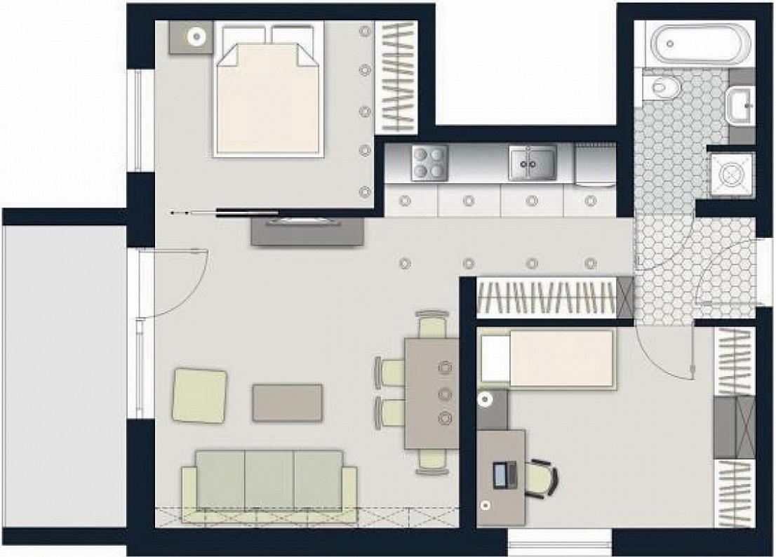 Схема планировки двухкомнатной квартиры 6