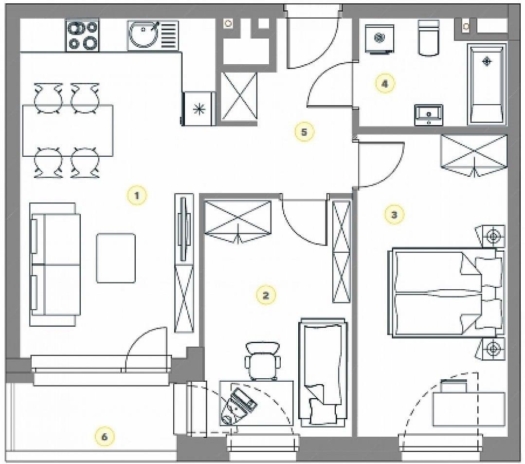 Схема планировки двухкомнатной квартиры