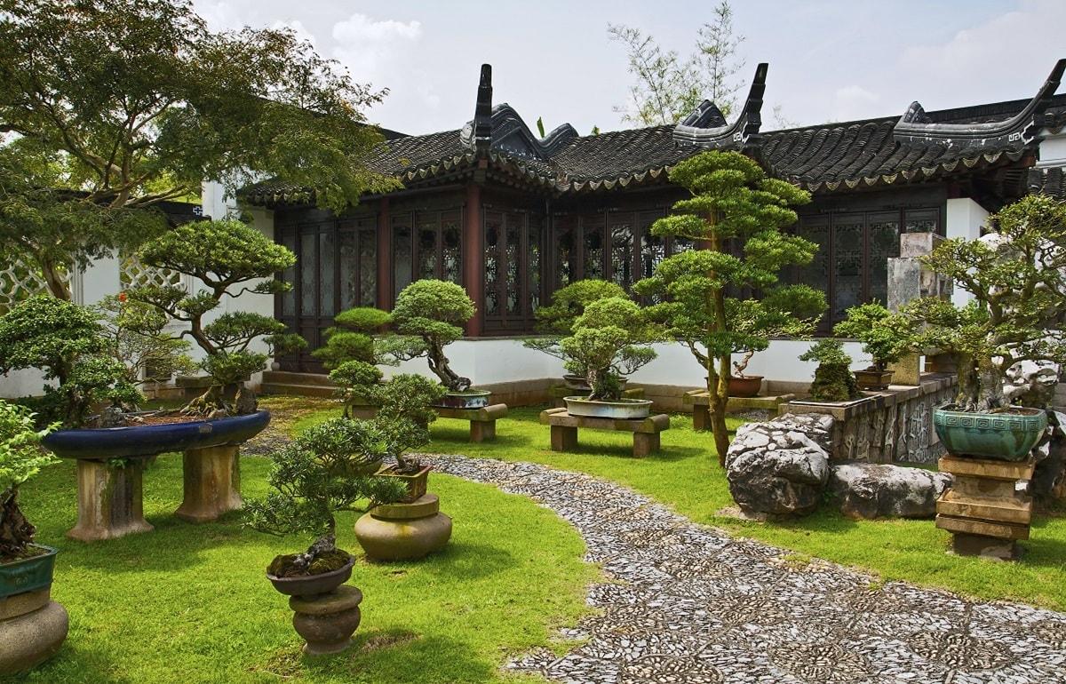 Бонсэки в китайском саду
