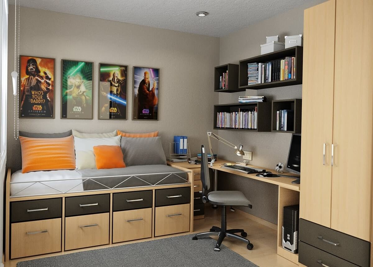 Дизайн комнаты мальчика подростка - фото