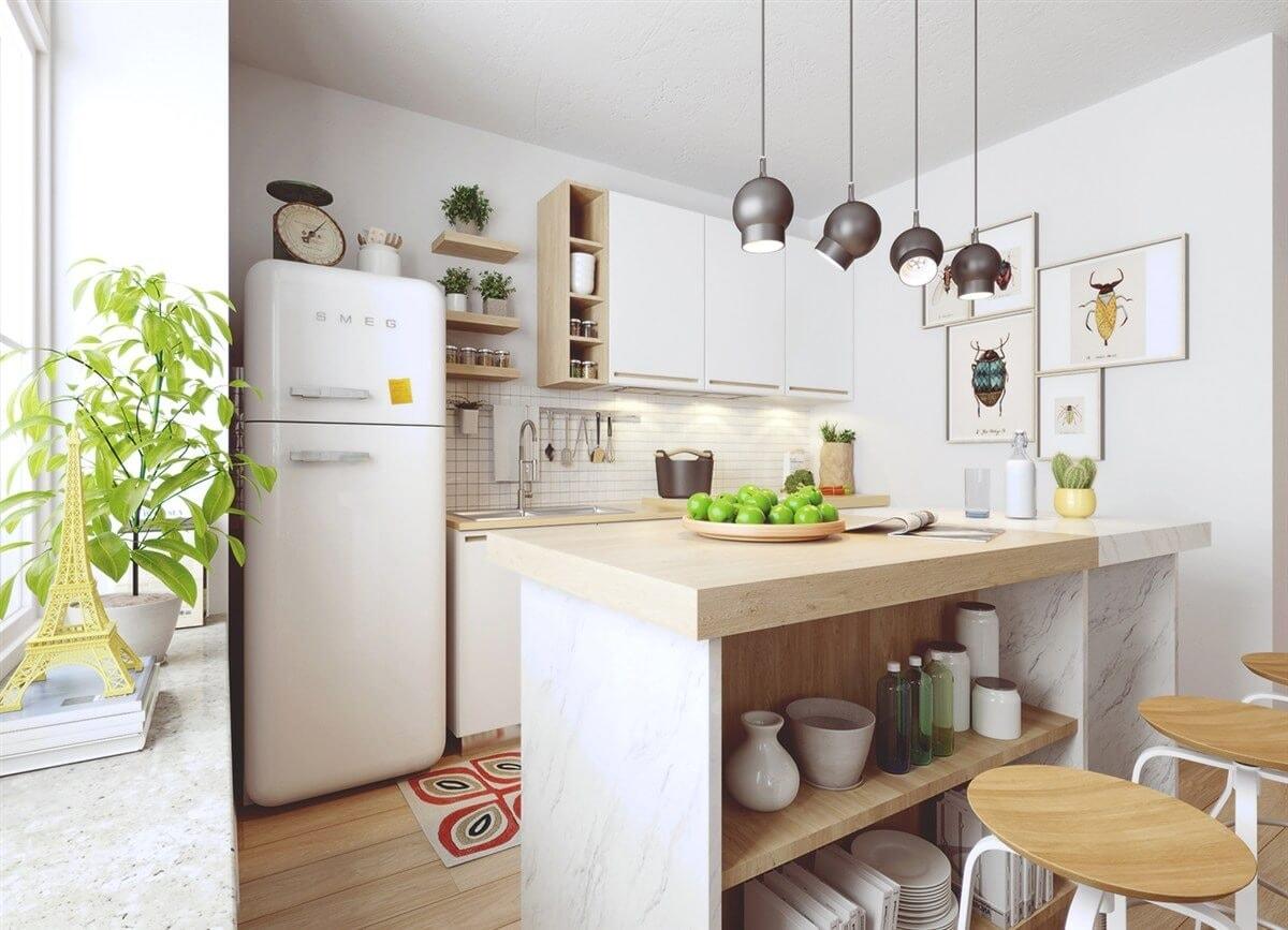 Домашние растения на кухне в скандинавском стиле