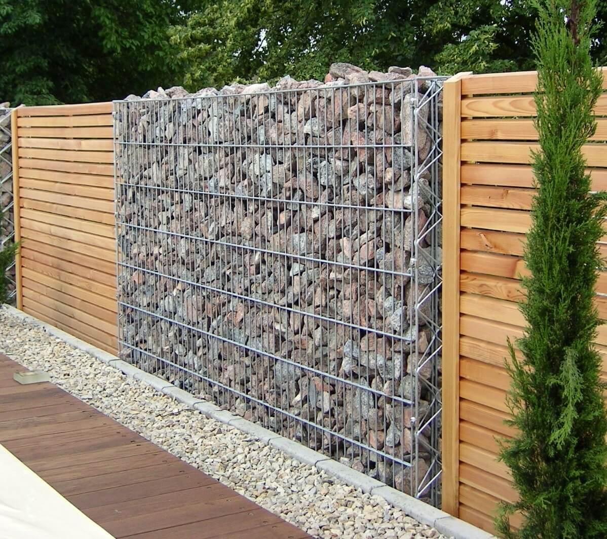 Забор из габионов в стиле хай-тек