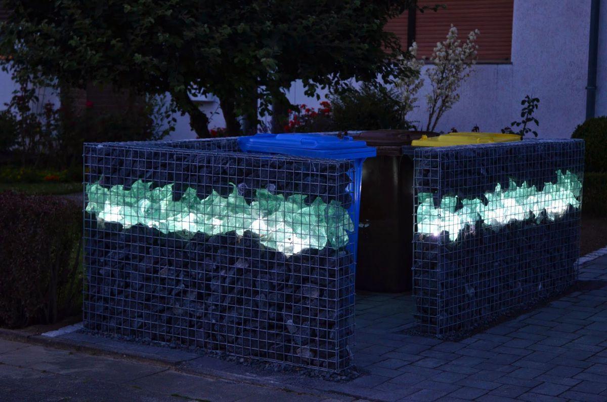 Забор из габионов с подсветкой (2)