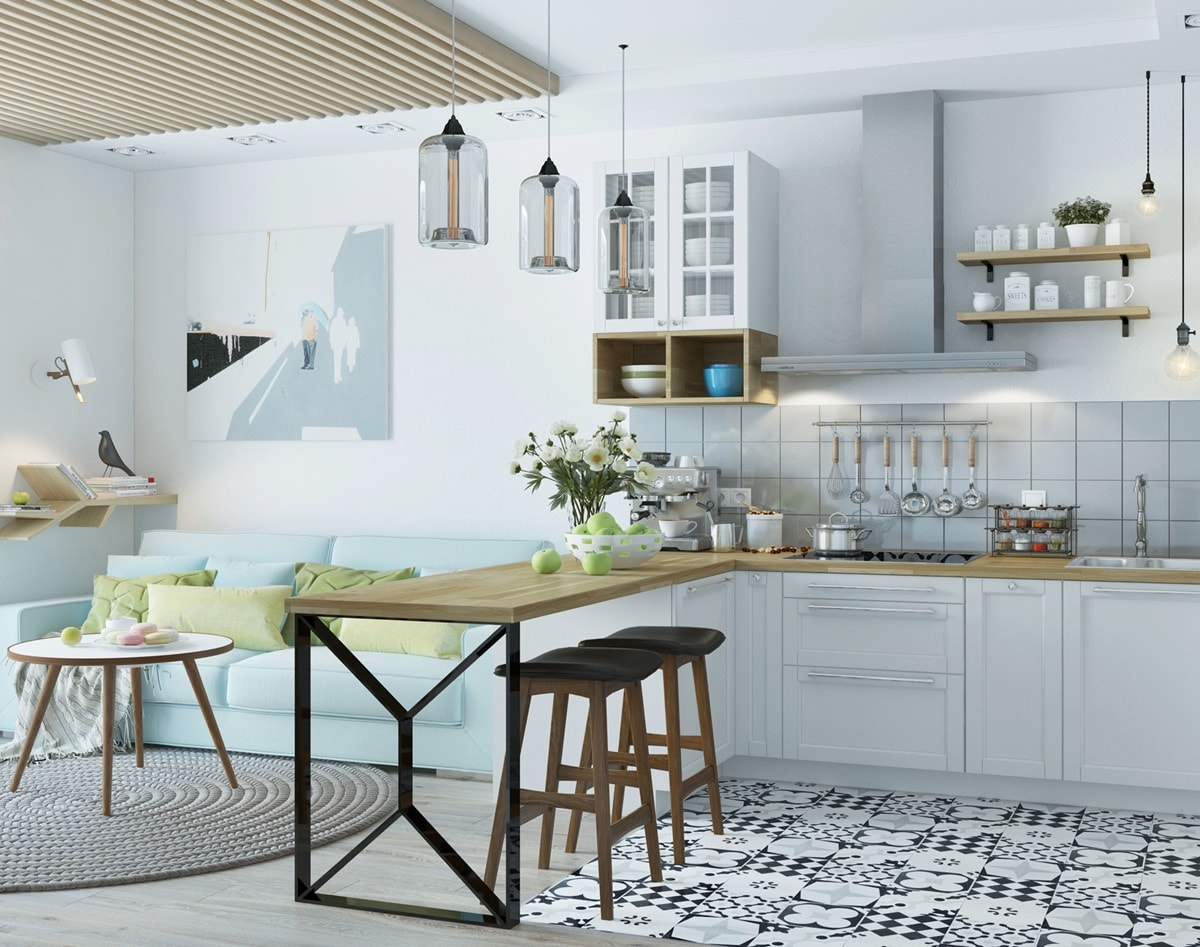 Зонирование кухни-гостиной в скандинавском стиле