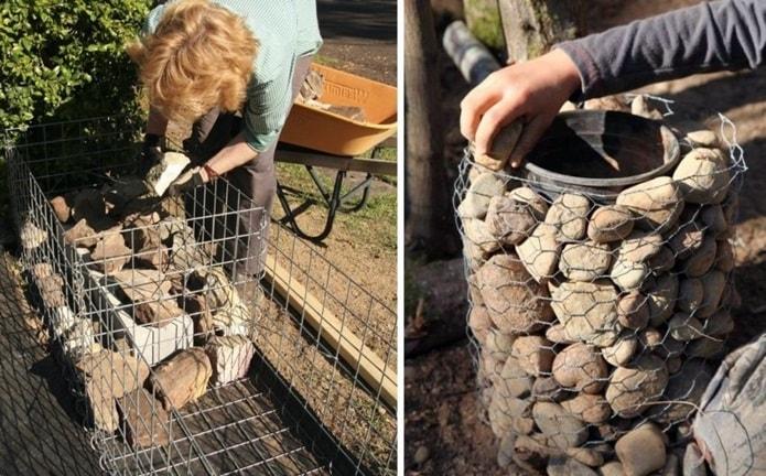 Наполнение габионов камнями