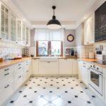 Оштукатуренные потолки из гипсокартона на кухне в скандинавском стиле