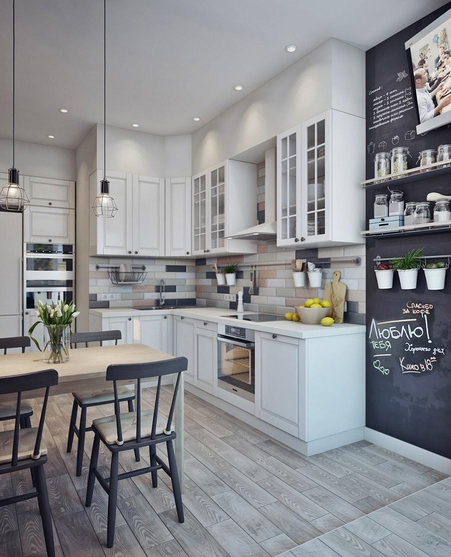 Стол и стулья на кухне в скандинавском стиле