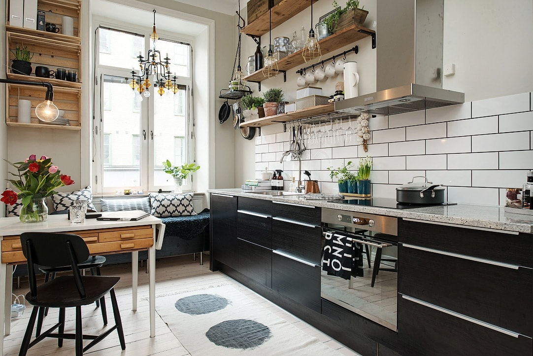 Текстиль на кухне в скандинавском стиле