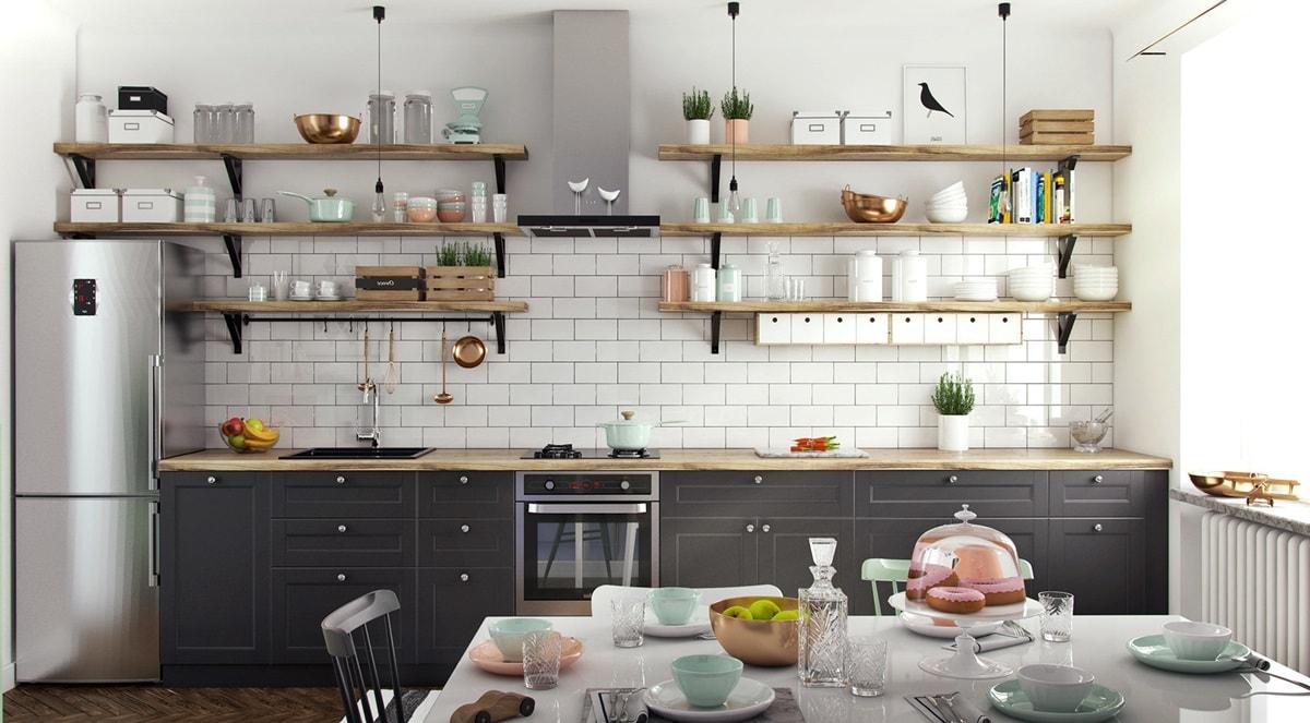 Темная мебель на кухне в скандинавском стиле