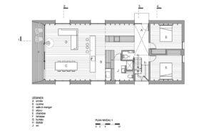 Загородный дом на берегу озера - план первого этажа