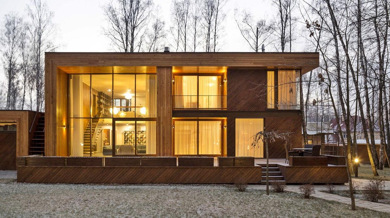 Современный загородный дом с плоской кровлей фото