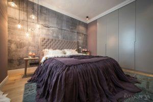 Встроенный шкаф в спальне в стиле лофт
