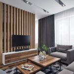 Декоративные рейки на стене в интерьере - фото