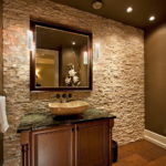 Декоративный камень в ванной комнате - фото (12)