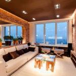 Декоративный камень в интерьере гостиной - фото (10)