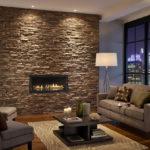 Декоративный камень в интерьере гостиной - фото (6)
