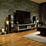 Декоративный камень в интерьере гостиной - фото (7)