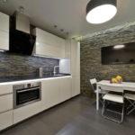 Декоративный камень в интерьере кухни и столовой - фото (12)