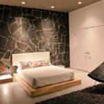 Декоративный камень в интерьере спальни - фото (13)