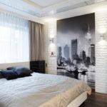 Декоративный камень в интерьере спальни - фото (2)